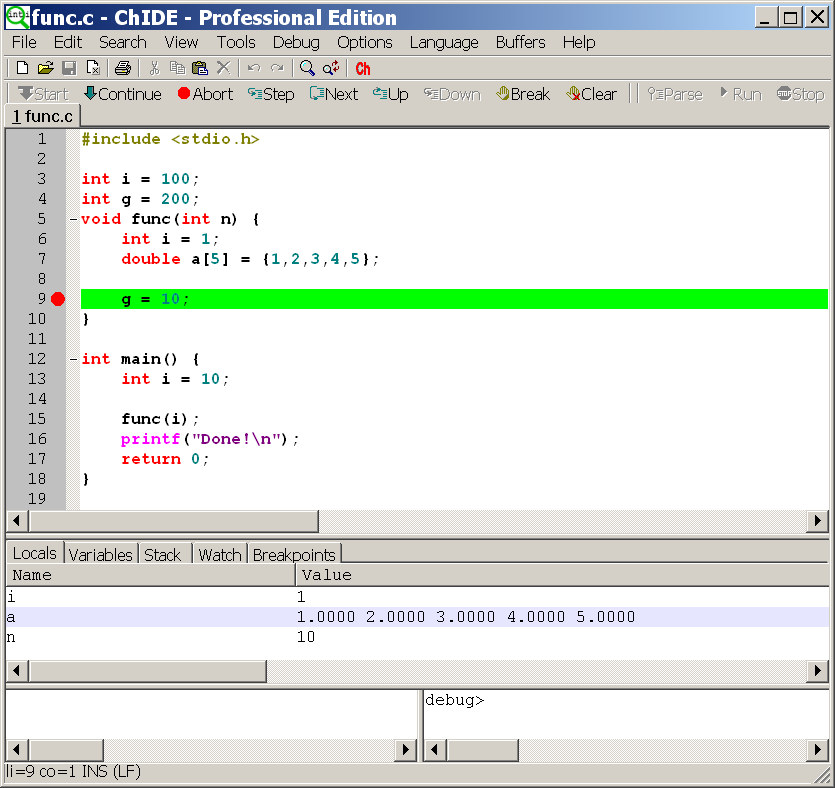 ChIDE edit/run a program